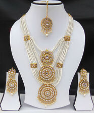 Indian Bollywood Style Ranihaar Fashion Gold Plated Bridal Jewelry Necklace Set