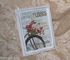 SHABBY DISTRESSED FRAME CHIC FLOWER SHOP BIKE PRINT FRENCH COTTAGE DECOR