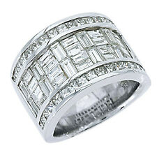 5 CARAT WOMENS PRINCESS BAGUETTE INVISIBLE DIAMOND RING WEDDING BAND WHITE GOLD