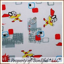 BonEful FABRIC FQ Cotton KNIT Jersey VTG Mighty Mouse Cartoon Super Hero Antique