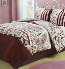 Queen Full Comforter Set Reversible Butterfly Floral 3 pc New