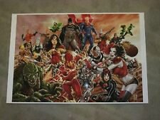 2017 ECCC - JLA VS SUICIDE SQUAD ART PRINT by MARK BROOKS SIGNED 13X19