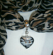 Beautiful Murano Glass Heart Scarf Pendant Ring Wire Wrapped Top Black Opaque