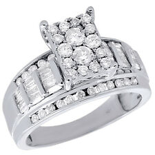 10K White Gold Round & Baguette Genuine Diamond Ladies Engagement Ring 0.90 Ct.