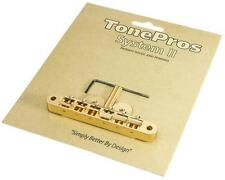 TonePros AVR2 Tuneomatic Guitar Bridge, Locking ABR-1 Upgrade, GOLD AVRII