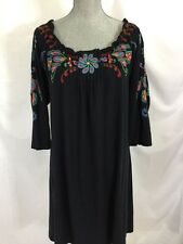 JWLA JOHNNY WAS LOS ANGELES Navy FLORAL EMBROIDERED TUNIC DRESS SIZE 1X Plus