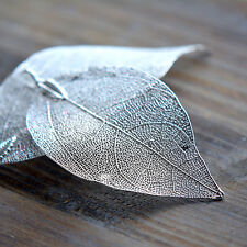 Real Nature Walnut Leaf Pendant dipped Sterling Silver Filigree Vintage