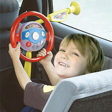 Kids Back Seat Car Steering Wheel Toys Horn Sounds Electronic Light Driving Game