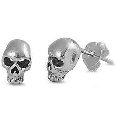Solid Skull Studs .925 Sterling Silver Earrings