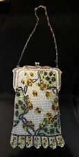 """Antique Vintage Whiting and Davis Co. Mesh Purse Metal Frame Yellow Flowers 6x4"""""""