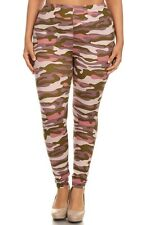Women's Pink Tan Camouflage Leggings One Size Plus Stretchy Non Transparent