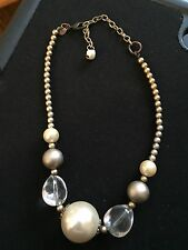 Chicos Gold Beaded Necklace With Clear And Golden Beads