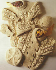 "Aran Knitting Pattern Jacket, Sweater, Mittens, Beret, Hat Boys Girls 24-30"" 574"