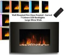 Wall Mounted Glass Fire Pebble Effect Realistic Electric Fireplaces CURVED 88cm