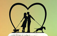Wedding Cake Topper - cake topper with dog - Groom and Bride - Acrylic Cake Topp