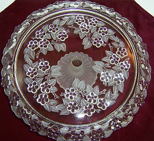 Vintage EMBOSSED GLASS CAKE PLATE Floral Pattern Frosted Glass Trumpet Pedestal