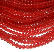 GR924c Red 4mm Smooth Round Malay Jade Gemstone Beads 15""