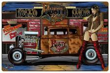 Hot Rod Rat Rod Pin Up Girl Metal Sign Man Cave Garage Body Shop Club MNI031