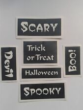 20 x Halloween word stencils for glitter tattoos / airbrush / other craft use.