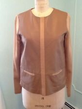 Raoul silk satin & leather front women's top, beige l/s 2 front pocket sz 4