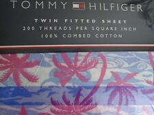 TOMMY HILFIGER~ROXBURY PINK BLUE PALM TREES TROPICAL~ TWIN FITTED SHEET~NEW~