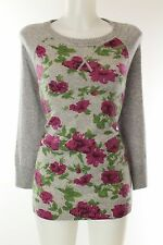 NWT $300 Autumn Cashmere 100% Cashmere Grey Cabbage Rose Print Sweater Size Smal