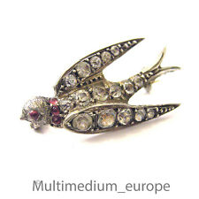 antike Silber Brosche schalbe swallow antique Victorian silver paste brooch
