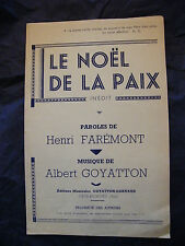 Partition Le Noel de la paix Henri Farémont Albert Goyatton Music Sheet