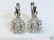 Pave set Vintage Antique Style White Gold Drop Dange Shape Flower Earrings