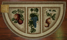 19X32 Slice Wedge Kitchen Rug Mat Beige Tan Washable Mats Rugs Fruit Grapes Pear