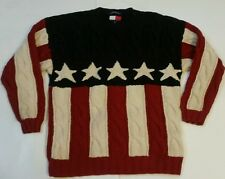 VINTAGE TOMMY HILFIGER USA FLAG Thick Cable Knit Sweater Flag Mens SZ MEDIUM