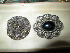 2 very lovely vintage silvertone hematite and filigree brooches