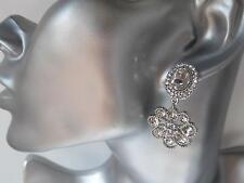 Gorgeous silver tone & diamante - crystal flower drop - dangle earrings  *NEW*