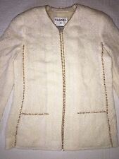 Chanel 99 P Boucle Pearl Trim Cream Jacket Lined Blazer 40 EUC