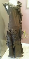 TERI JON RICKIE FREEMAN ART TO WEAR WOMENS CHOCOLATE BROWN DRESS GOWN  SIZE 14