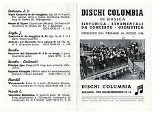 CATALOGO PIEGHEVOLE DISCHI COLUMBIA 2° SEMESTRE 1938