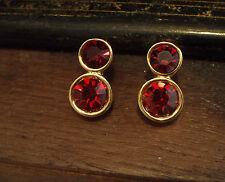 Vintage Round  Ruby Red Crystal Stud Pierced Earrings