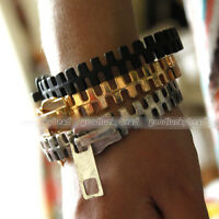 Gothic Punk Rock Fashion Unique Zipper Zip Shape Metal Bangle Bracelet Findings