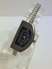 WOMEN'S RETRO CALVIN HILL BLACK DIAL STAINLESS STEEL ELEGANT WATCH  STRETCH BAND