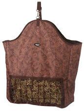 Brown Leather Print Heavy Denier Nylon Slow Feed Horse Hay Bag Trailer or Stall