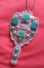 MIRROR BLUE ROSE 3D KITCH DIY EMO NECKLACE INDIE GRUNGE KAWAII DECO DEN DECODEN