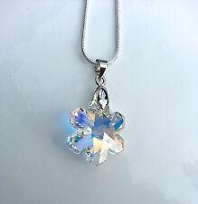 Kristall Schmuck Kette Silber mit Swarovski Elements Schneeflocke Eis Blume