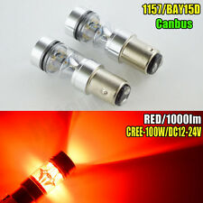 2x 100W Hight Power CANBUS 1157 BAY15D Red CREE LED Bulbs Tail Brake Stop Lights