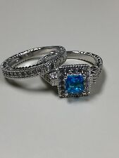 Victoria Wieck Vintage 10KT white gold filled Aquamarine 2 pc Ring Set Size 7