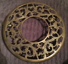 Vintage Brass Rolling Plant Stand Swivel Casters Wheels Ornate Scroll Design Old