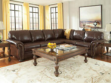 MILLER - Old World Real Brown Leather Living Room Large Sectional Sofa Couch Set