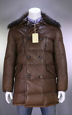 NWT New * BRIONI * Current Leather Puffer 3/4 Length Fur Collar Coat Jacket 40/M