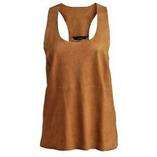 BNWT Muubaa Razor Muscle Back Cami Perforated Goat Suede in Mustard sz 10 £239