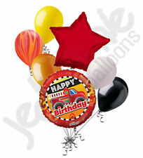 7 pc Fire Truck Happy Birthday Balloon Bouquet Party Decoration Red Fighter Boy