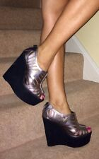 Office Silver Leather Laser Cut Out Black Platform Wedge Heel Shoes 6.5 7 40